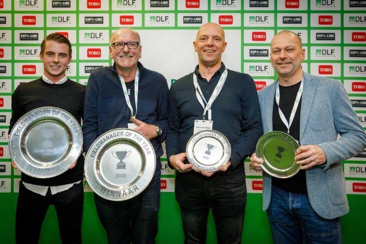 Roy van Dijk, Jaap Verhagen, Eddie van der Stappen en Bert Klein. Foto: Vakbeurs Sportaccommodaties.