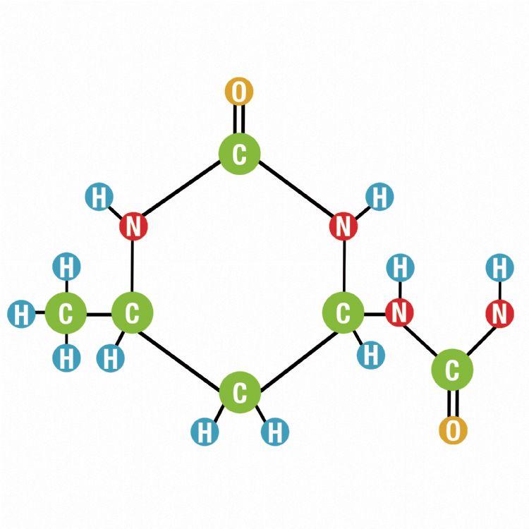 Crotodur is een ringvormige structuur waarop twee ureumgroepen aanwezig zijn. + Harry van het Hof (Compo Expert)