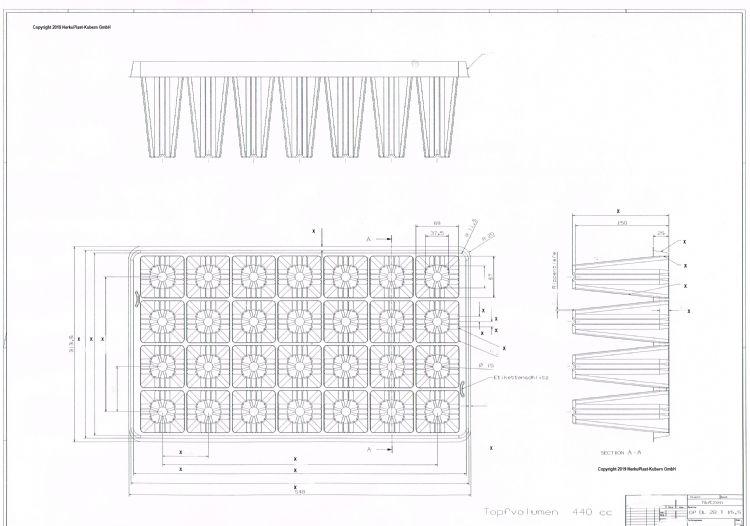 Getailleerde tekening van een tray