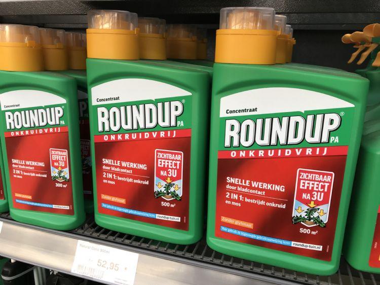Onkruidbestrijdingsmiddel Round-Up met als actief bestanddeel glyfosaat